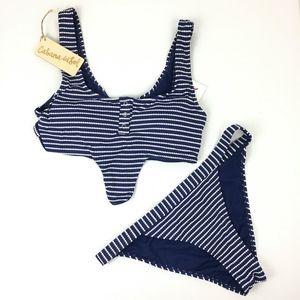 New Cabana Del Sol Blue & White Striped Bikini